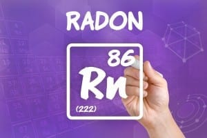 Hand drawing the symbol for the chemical element radon